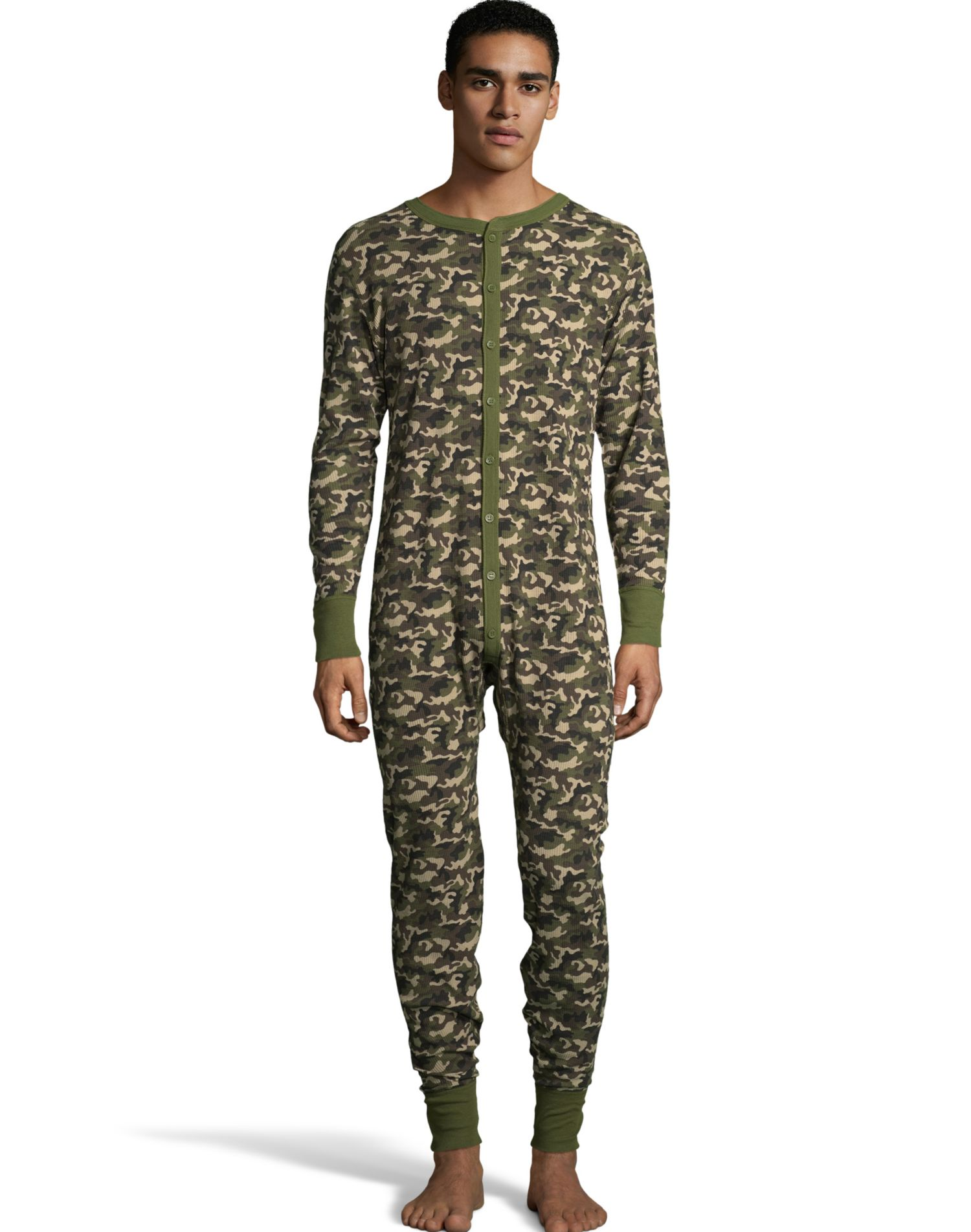 Hanes Mens Waffle Knit Thermal Union Suit, S, Camo Green