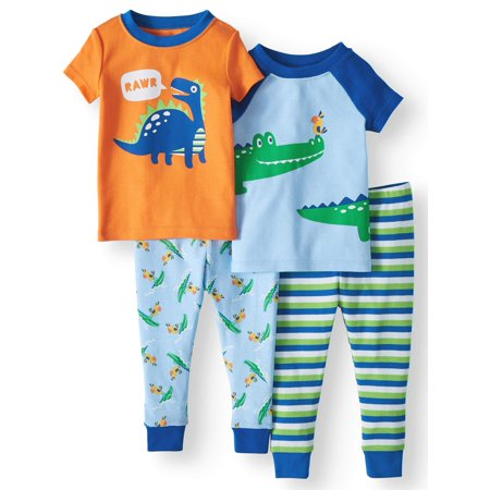 Wonder Nation Baby boys' cotton tight fit pajamas, 4-piece set
