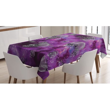 Skull Decor Tablecloth, Horror Movie Themed Flying Skull Heads Halloween in Outer Space Image, Rectangular Table Cover for Dining Room Kitchen, 52 X 70 Inches, Black and Purple, by Ambesonne for $<!---->