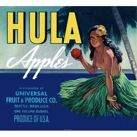 Hula Apples Hawaiian Girl with apple label Canvas Art -  (36 x 54)