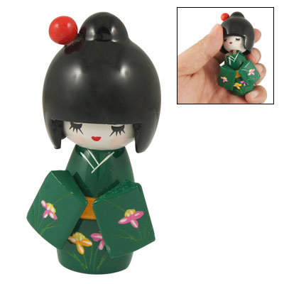 Red Hairpin Carved Floral Green Kimono Kokeshi Doll