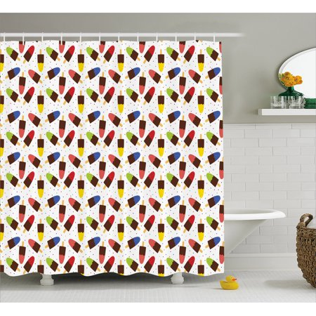 Ice Cream Shower Curtain Chocolate Popsicles With Different Flavors Scattered Among Colorful Little Dots