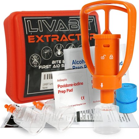 LIVABIT Survival Emergency Kit Insect Bug Bite Sting Extractor Suction Pump For Outdoor Hiking Adventures Preppers