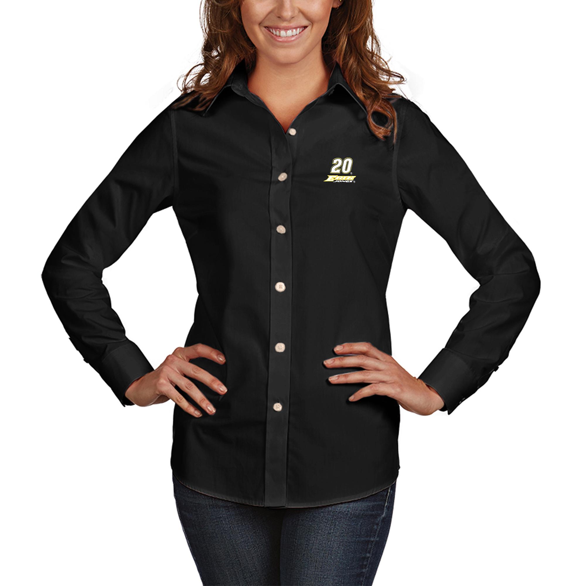 Erik Jones Antigua Women's Dynasty Button-Down Woven Long Sleeve Shirt - Black