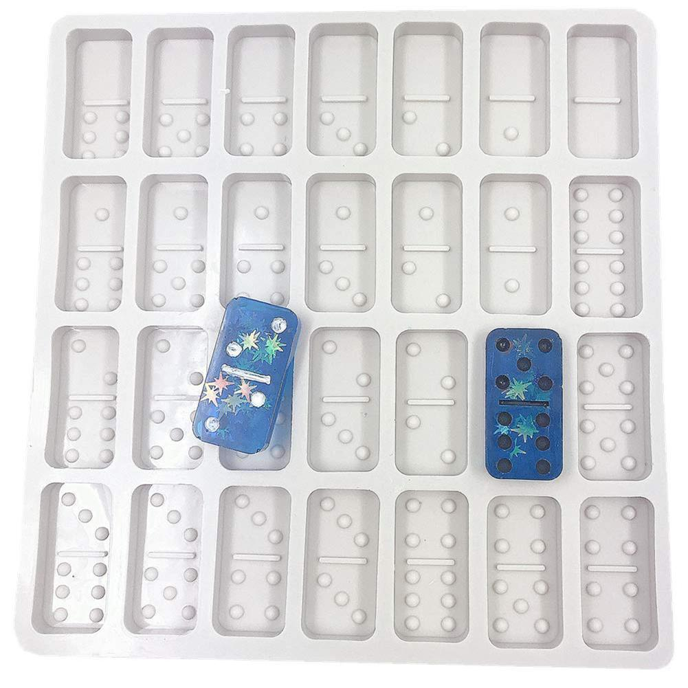 Game Mold Casting Mold FANIMAL Resin Mold 2 Pack Domino Double Six Epoxy Resin Molds 28 Cavities DIY Silicone Mold for Resin Personalized Dominoes Domino Chocolate Candy Soap Fondant Molds