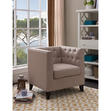 Lola Cream Upholstered Fabric Oversized Accent Living Room Arm Chair With  Solid Wood Legs