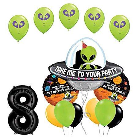 Space Alien 8th Birthday Party Supplies Balloon Bouquet Decorations