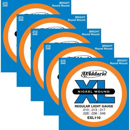 5 Sets - D'Addario EXL110 Nickel Wound Electric Guitar Strings, Light Gauge, EXL110 ^5