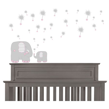 Pink Dandelions And Elephant Wall Decals Nursery Decor