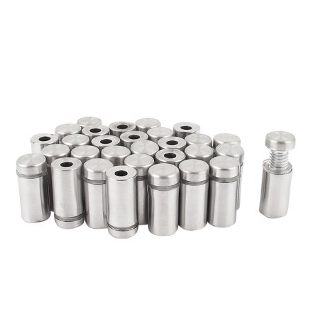 Uxcell 12x25mm Stainless Steel Advertisement Nails Glass Wall Connector Standoff (30-pack)