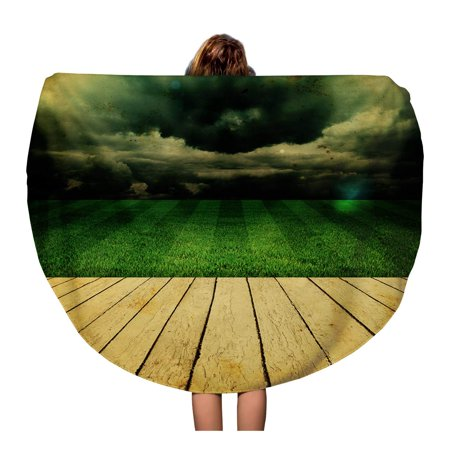 SIDONKU 60 inch Round Beach Towel Blanket Green Best Stadium Champion Field Football Arena Brasil Brazil Travel Circle Circular Towels Mat Tapestry Beach