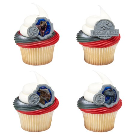 24 Jurassic World 2 They Where Here First Cupcake Cake Rings Birthday Party Favors Toppers