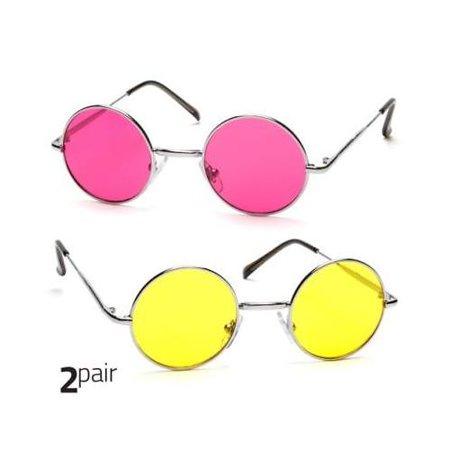 2 PAIR John Lennon Vintage Classic Circle Round Sunglasses Men Women PINK Yellow ()