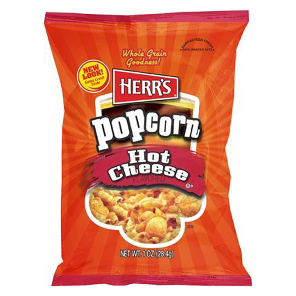 Herr's Hot Cheese Flavored Popcorn 1 oz Bags - Pack of 30