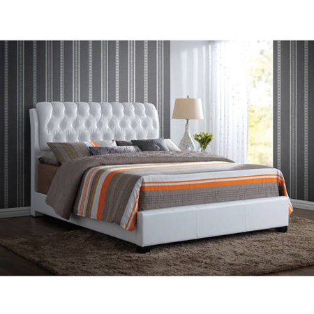 acme furniture ireland queen faux leather bed with tufted headboard white - White Leather Bed Frame