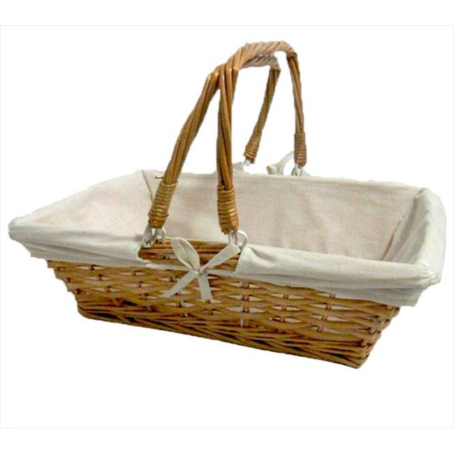 Quickway Imports QI003062 Rectangular Willow Basket with White Fabric Lining