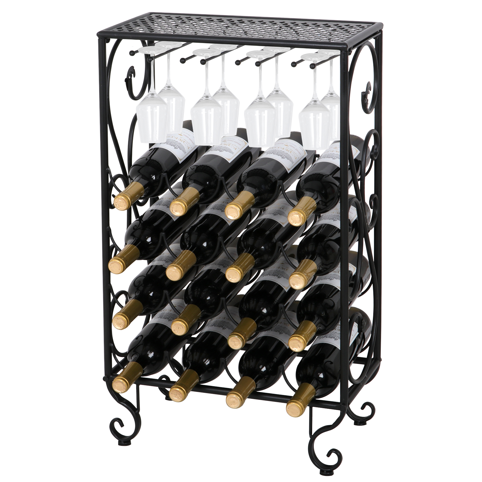 Zeny 16 Bottle Black Finished Table Top Wine Rack With Glass Holder
