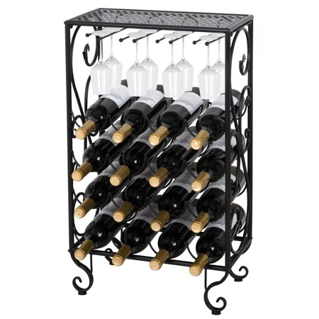 Zeny 16 Bottle Black Finished Table Top Wine Rack with Glass Holder Solid Wrought Iron Floor Free Standing Wine Organizer Rack Cabinet Kitchen (Wine Bottle Holder Tree)
