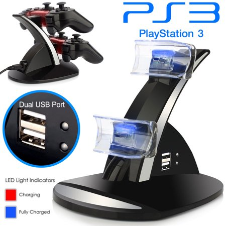Playstation 3 Stand - For Playstation 3 PS3 Dual Controller cha rger LED Charging Dock Station Stand