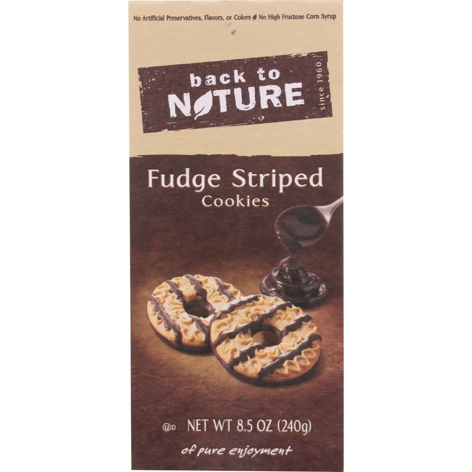 Back To Nature Cookies Fudge Striped Shortbread 8.5 oz case of 6 by