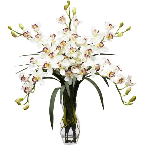 Nearly Natural Cymbidium Orchid Silk Flower Arrangement, White