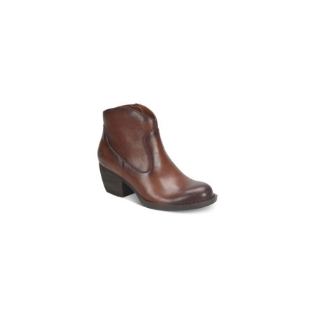 Born Leather Boots - Born Womens Carmel Leather Closed Toe Ankle Fashion Boots, Brown, Size 8.5