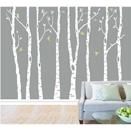 Popeven White Tree Wall Decal Vinyl Large Birch Tree Sticker for Living Room Decorative Nursery