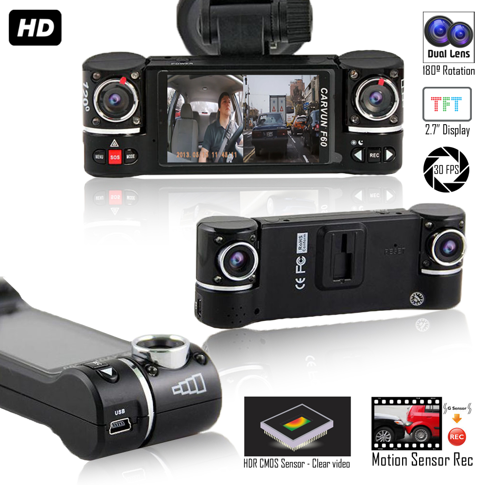 "Indigi F600 Smart Dash DVR Cam w/ 2.7"" Split LCD + Dual Rotating lenses +"