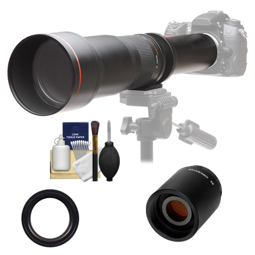 Vivitar 650-1300mm f/8-16 Telephoto Lens with 2x Teleconverter (=2600mm) + Kit for Nikon D3200, D3300, D5200, D5300, D7100, D610, D750, D810 Camera