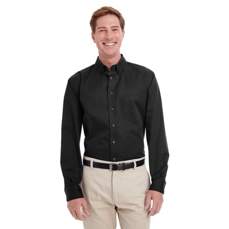 Branded Harriton Mens Foundation 100% Cotton Long Sleeve Twill Shirt Shirt with Teflon - BLACK - S (Instant Saving 5% & more on min 2)