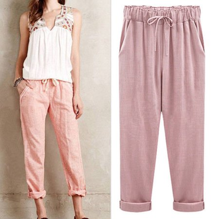 - Womens Linen Pant Casual Elastic Waist Ninth Pants Trousers Wide Leg Pants Large Plus Size M-6XL Harem Pants