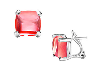 Red Chalcedony Earrings 14K White Gold 10.00 CT TGW by Love Bright