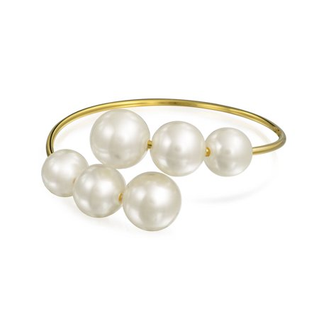 Gold Plated Simulated White Grey Pearl Open Cuff Bangle - 90s Jewelry