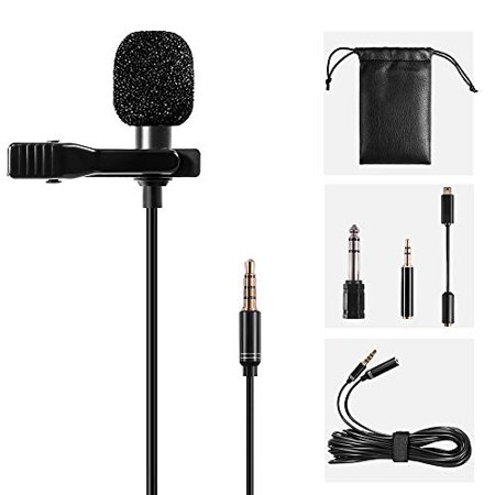 Lavalier Lapel Microphone Kit Shooter Omnidirectional Condenser Lav Mic Clip-on Lapel Mic for iPhone, iPad, GoPro, DSLR, Camc