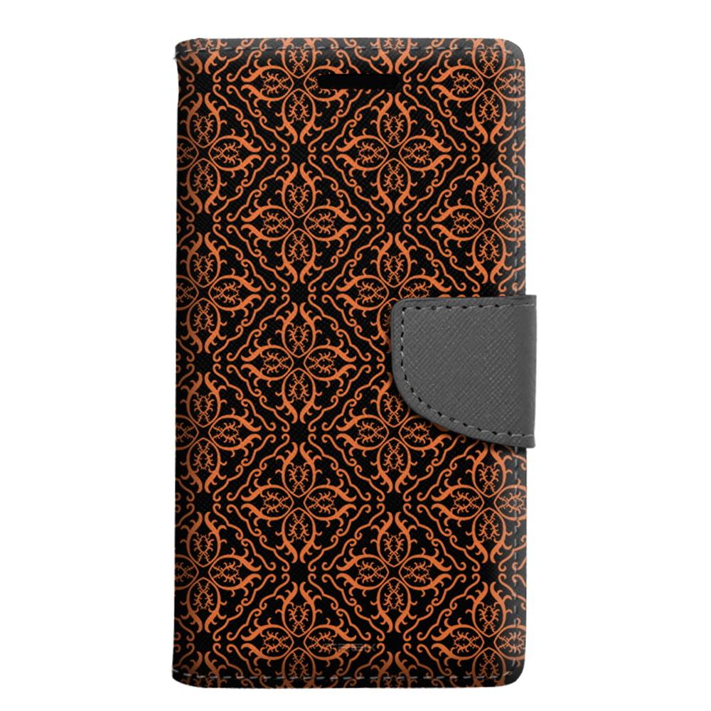 LG G5 Wallet Case - Victorian Royalty Orange on Black Case
