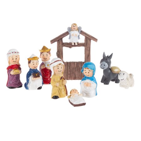 Nativity Kids Playset – Hand Painted Christmas Childrens Manger Scene Indoor Decor and Bible Toys for Sunday School, Holiday Decoration by Hey! Play!