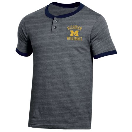 Men's Russell Heathered Gray Michigan Wolverines Distressed Two-Button -