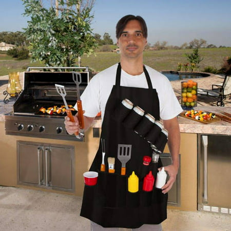 Trademark Innovations Black Grill Master Grill Apron and Accessory - Holds Beverages and Tools by EZ Drinker