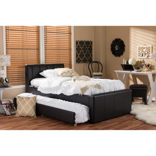 Baxton Studio Cosmo Modern and Contemporary Black Faux Leather Twin Size Trundle Bed by Overstock
