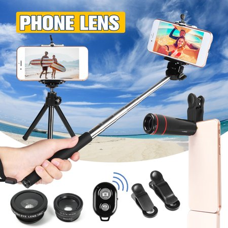 10 in 1 Cell Phone Camera Lens Kit 8X Telescope+Fisheye+Wide Angle+Macro Telephoto Lens with Mini Tripod & Selfie Stick Monopod Spring Travel Outdoor Best