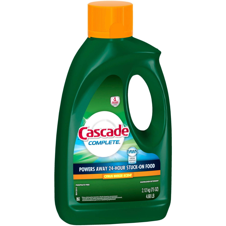 Cascade Complete Gel Dishwasher Detergent, Citrus Breeze Scent, 75 oz