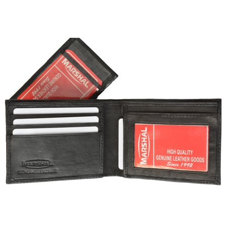 Leather Bifold Removable Middle Flap ID Card Holder Wallet 1142 (C) Black