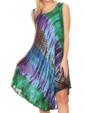 659e73fc72 Product Image Sakkas Isola Women s Tank Summer Bohemian Swing Midi Dress  Sleeveless Tie-dye - Purple -