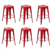 Belleze 6-Piece Metal Bar Stool Industrial Stackable, 26-Inch, Red by Belleze