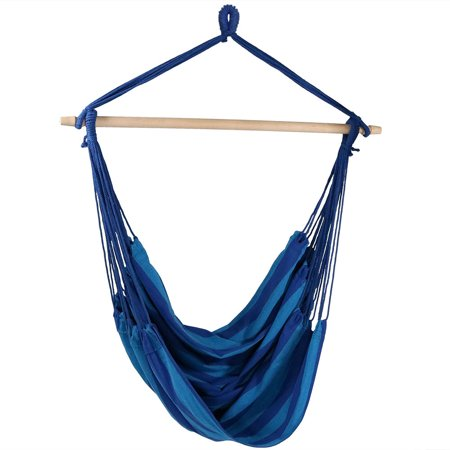 Sunnydaze Hanging Rope Hammock Chair Swing, Jumbo Extra Large Seat, Indoor or Outdoor Use, Beach