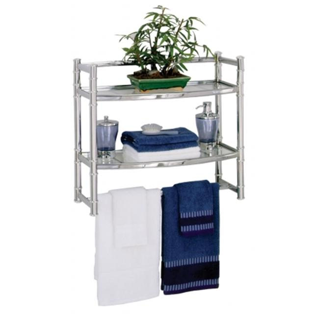 zenith wall shelf with 2 glass shelves chrome finish