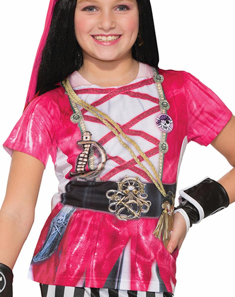 Child's Girls Swashbuckler Pink Pirate Printed Costume Sublimation Shirt by Forum Novelties