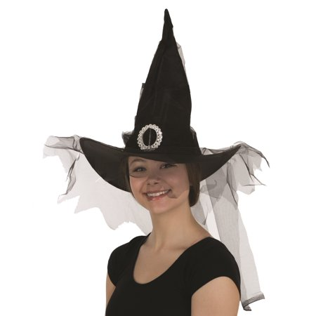 Black Poly Witch Hat with Long Black Veil Goth Adult Gothic Costume Accessory](Halloween Costumes Goth)
