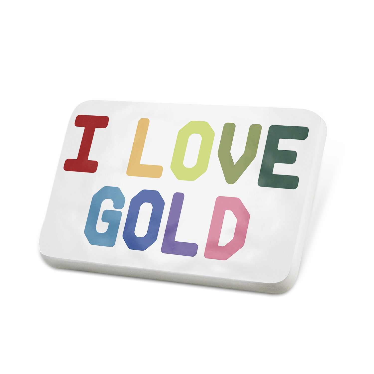 Porcelein Pin I Love Gold,Colorful Lapel Badge – NEONBLOND by NEONBLOND