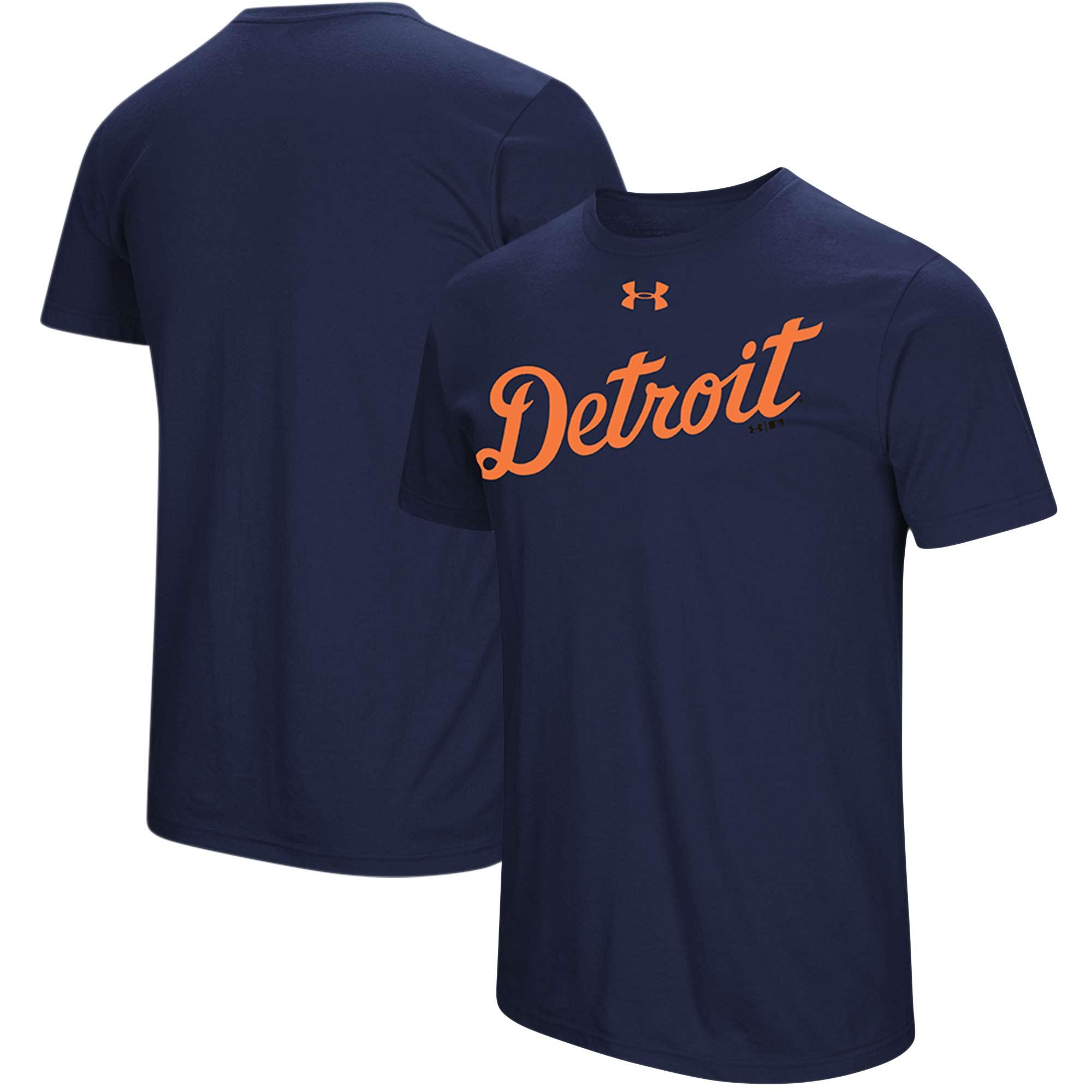 Detroit Tigers Under Armour Passion Road Team Font T-Shirt - Navy